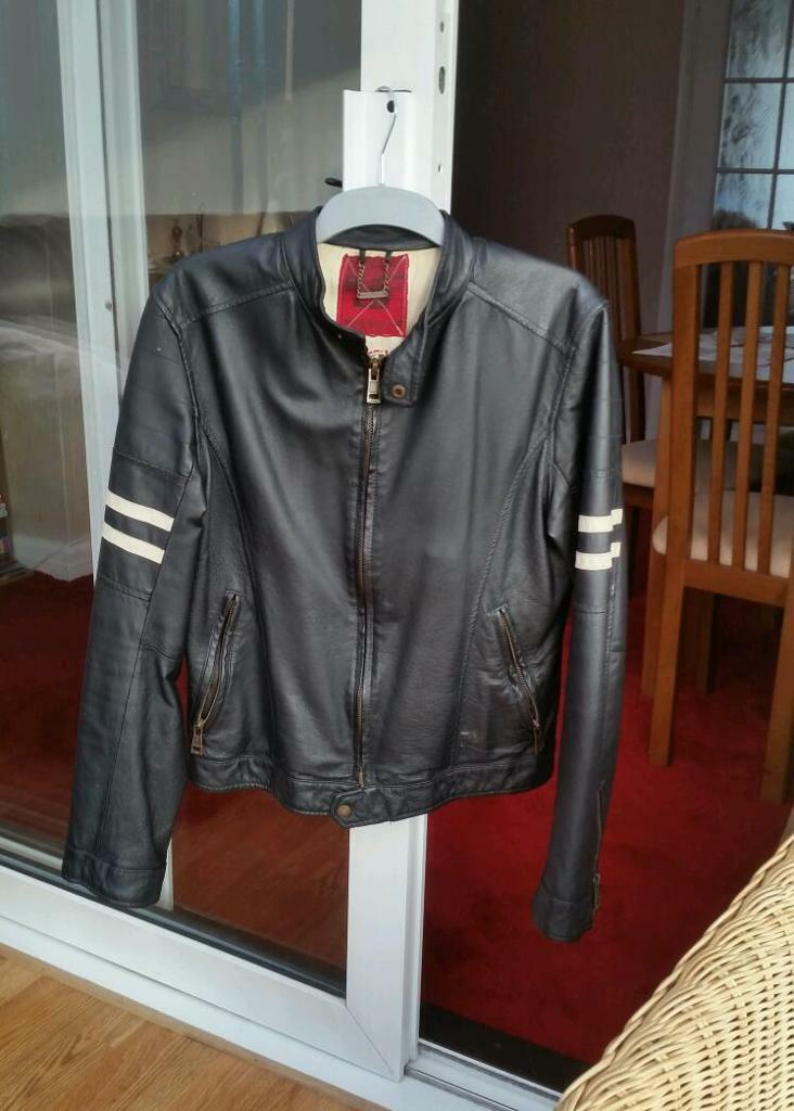 Mens black River Island faux leather jacket Small
