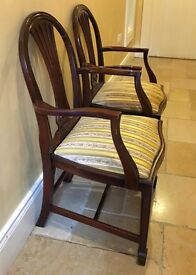 Pair of Mahogany Antique Carver Chairs