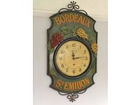 LARGE FRENCH KITCHEN WALL CLOCK, BORDEAUX ADVERTISING SIGN, CAST IRON AND WOOD