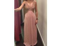 Monsoon embellished full length pink dress