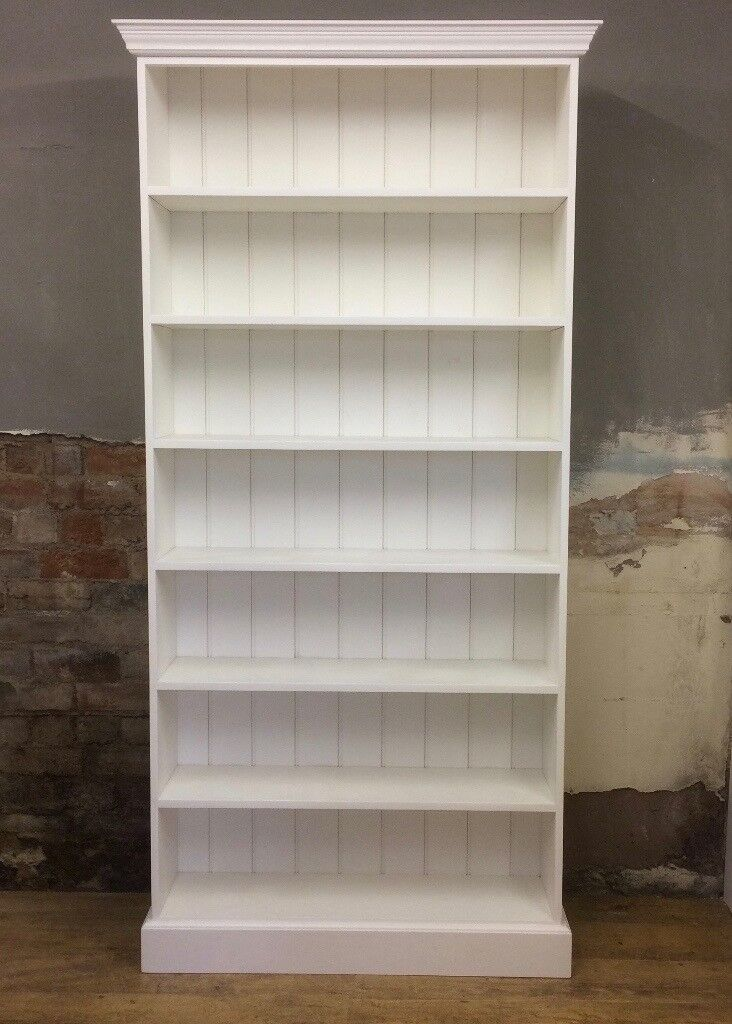 Very Large Painted Bookcase White Shelf Unit Fixed Shelves Tall