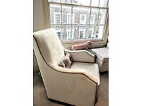 Olli Ella (Mo-Ma Glider) rocking chair, matching pillow & (In-It Storage Ottoman) footstool for sale