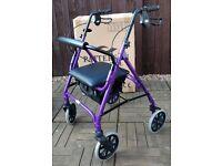 Rollator - Patterson Medical / Days 105P, 4 wheel, lightweight, black & purple.