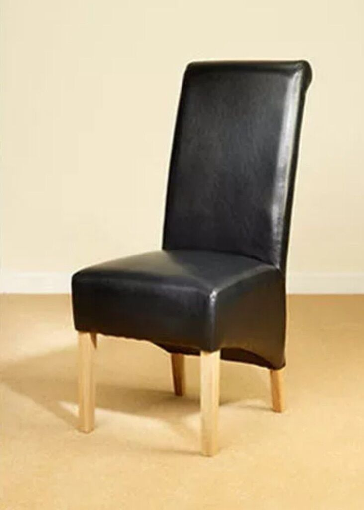 Leather Dining Chairs Scroll High Back 30 In Hoxton