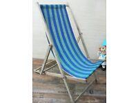 Vintage Blue & Green Canvas Wooden Frame Deck Chair