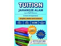 Tuition - Experienced PGCE Qualified Teacher/Tutor for GCSE/KS3/KS2 English/Maths/Science tuition