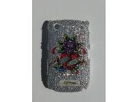 WHITE Eternal Love blackberry 8250 curve case screen protector ed hardy Christian Audigier