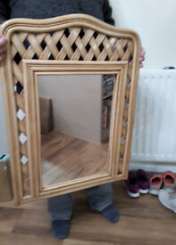 hanging rattan wall mirror for conservatory