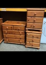 Pine bedside drawers and set of drawers