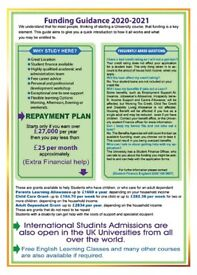 Student finance available for UK, EU, EEA, Refugee Status, ILR student (Session 2020-2021)