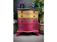 BESIDE CABINET PAINTED RAINBOW DISTRESSED FRENCH BOHO STYLE