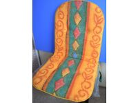 4 x Patio Chair Cushions High Back With Ties Size 47cm x 43cm x 47cm x 55cm x 4cm 100% Cotton..