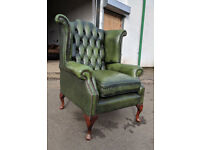 Antique green chesterfield queen anne wing back amrchair DELIVERY AVAILABLE