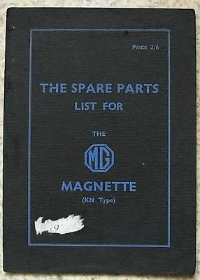 MG MAGNETTE KN TYPE Car Parts List Catalogue Dec 1934 #26447-12/34/750
