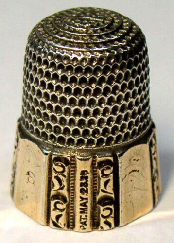 Antique Simons Bros. Gold Band Sterling Silver Thimble  Fluted Octagon  Dtd 1889