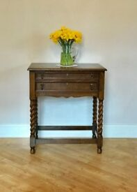 Vintage Walker & Hall Cutlery Table / Cabinet with Barley Twist Legs