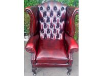 Oxblood Red Leather Chesterfield Wing Chair, Dining Furniture, USED