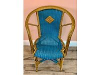 Gold and Blue Rattan Wicker Cane Bamboo Boho Tiki Chair