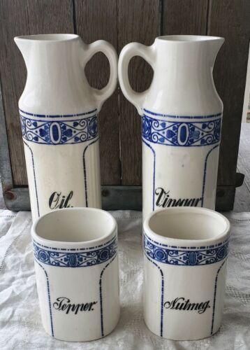 Antique CN Germany Porcelain Canister Set Secessionist Pattern in Cobalt Blue