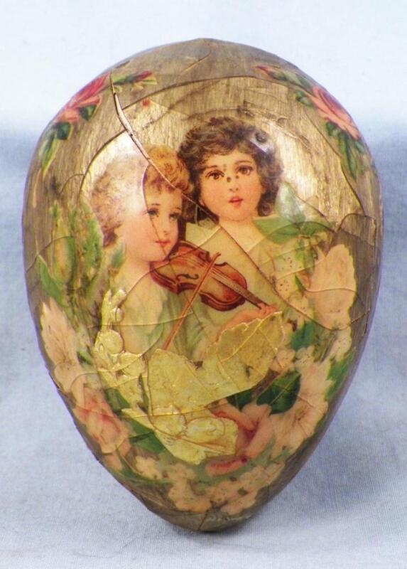 Vintage Easter Egg Decoration Victorian Children Decoupage Ceramic