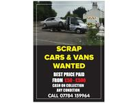 Scrap cars and vans, batteries and alloys wanted ****cash paid****