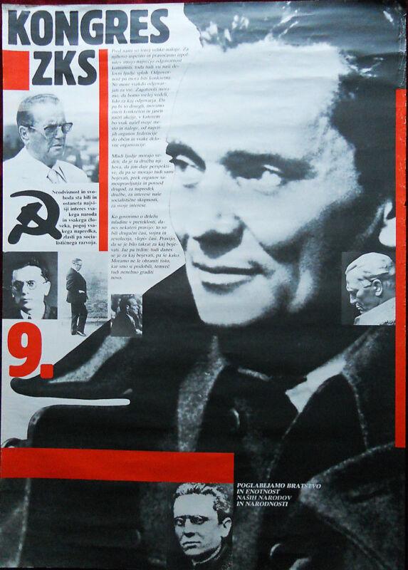 1982 Original Poster Yugoslavia Slovenia Communists Broz Tito ZKS 9. Congress