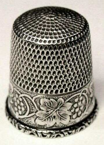 "Antique Simons Bros. Sterling Silver Thimble  ""Grapes Leaves & Vines""  C1900s"