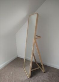 Ikea Ikornnes Standing Floor Mirror & Hanging Bar - Ash Wood - RRP £95