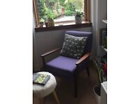 Parker Knoll style chair, reupholstered in bute fabric