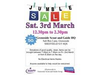 Jumble Sale - Saturday 3rd March - Grenoside Scout and Guide HQ