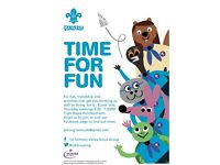 Beavers scouts on a Thursday for girls and boys ages 6 to 8