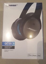 Bose Qc25 Headphones Noise cancelling black Apple IOS NEW