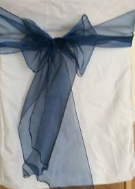 Organza wedding chair covers in blue