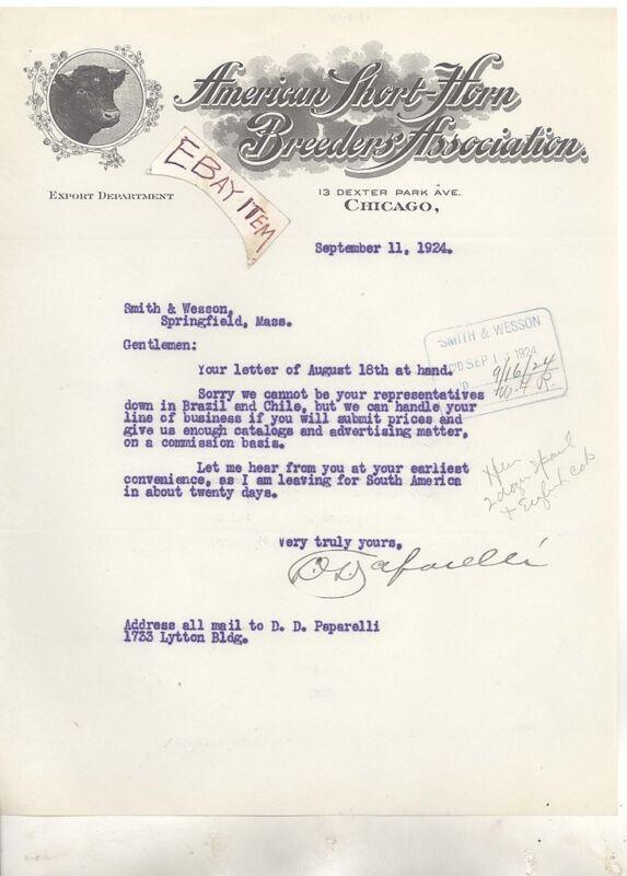 1924 Chicago ILLinois D. PAPARELLI American Short Horn Breeders CATTLE LIVESTOCK
