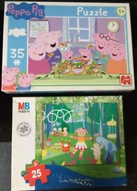 2x PUZZLE boxes with PEPPA PIG (#35pcs) and IN THE NIGHT GARDEN (#25pcs)