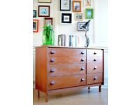 Stylish vintage 'Stag' Danish style teak chest of drawers / dresser. Delivery. Modern / midcentury.