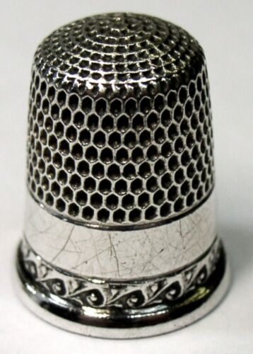 Antique Simons Bros. Sterling Silver Thimble  Wave Scroll Pattern  C1900s