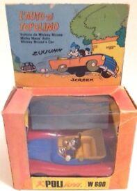 Vintage POLITOYS W 600 Mickey Mouse Car L'Auto di Topolino Boxed