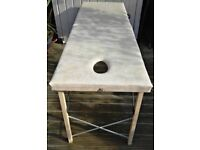 FOLDING WHITE PORTABLE MASSAGE / THERAPY / BEAUTY TABLE