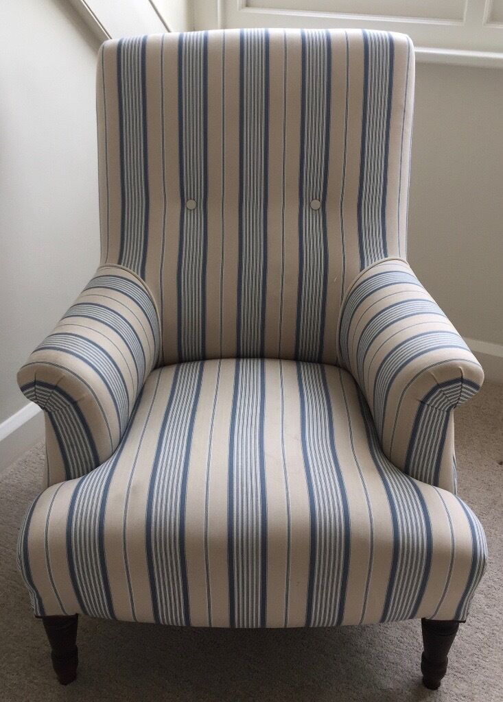 Antique Arm Chair. Upholstered In Classic Blue U0026 Cream Striped Fabric.  Fantastically Comfortable!
