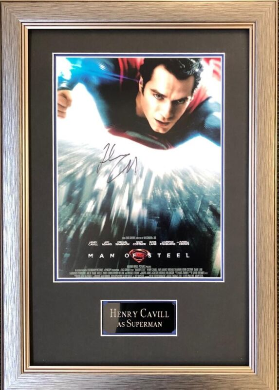 Henry Cavill Signed & FRAMED Man of Steel 16X12 Photo Autograph AFTAL COA (A)