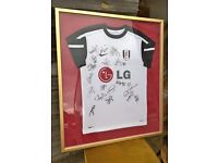 Signed Fulham Football Club Shirt 2009-10 ~ Europa League Final squad ~ Framed by Charity