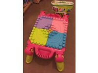 Pink Mega Blocks folding table with extra Bag of blocks in handy carry case