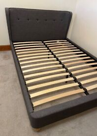 King Size Grey Fabric Bed Frame, Can Deliver