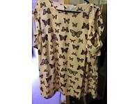 Size 16 butterfly print, cold shoulder blouse