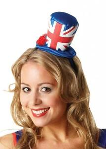 UNION JACK MINI GB TOP HAT W/ ROSE Olympics Jubilee Fancy Dress Accessory 30716