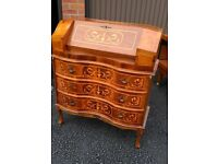 Mahogany Inlaid Serpentine Wave Fronted Writing Bureau / Desk Repro With Key