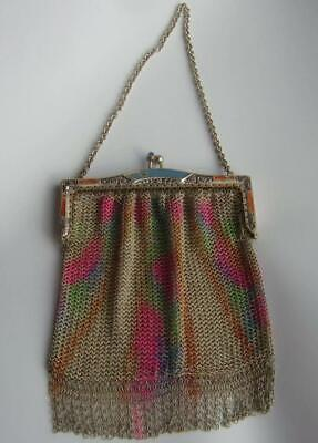 1920s Handbags, Purses, and Shopping Bag Styles Art Deco Silver Plated Rainbow Mesh Purse with Enamel Frame & Blue Glass Clasp $131.29 AT vintagedancer.com