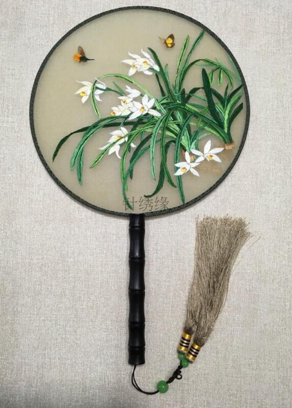 Chinese 3D Lifelike orchid Double Side SU Embroidery Silk Hand Fan