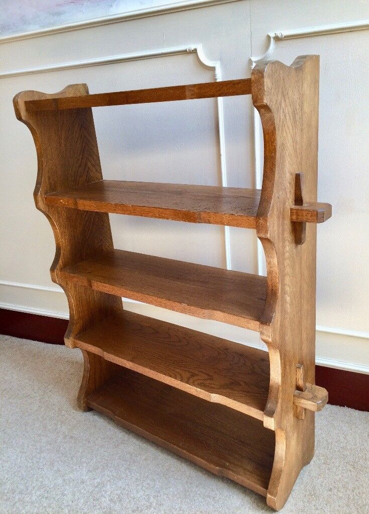 Arts Crafts Style Solid Oak 5 Wall Shelf Rustic Bookcase Kitchen Office Storage